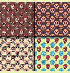Different style skulls faces seamless pattern vector