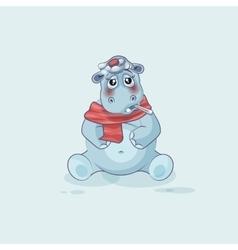 Emoji character cartoon hippopotamus sick vector