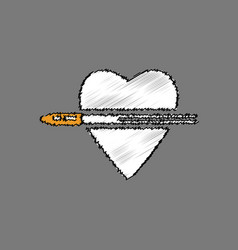 Flat shading style icon bullet wounded the heart vector