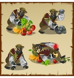 Four monkey monster with the loot food vector