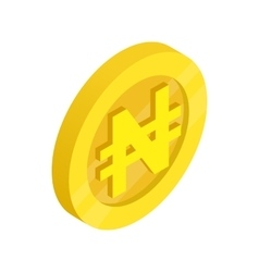 Gold coin with nairas sign icon vector