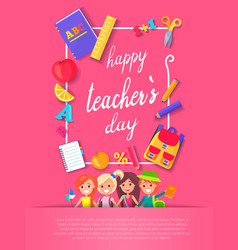 Happy teacher s day postcard vector