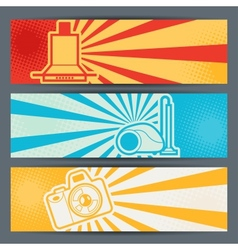Home appliances and electronics horizontal banners vector image