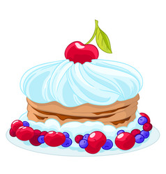 icon sweet cartoon cake with whipped cream vector image