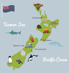 New zealand tourist map with famous landmarks vector