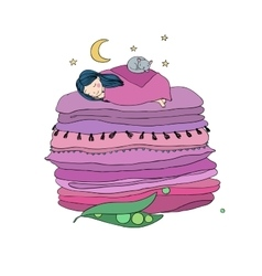 Princess on the Pea Blankets and pillows vector image vector image