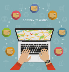 Shipping parcel tracking order flat design concept vector