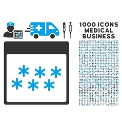 Snowflakes calendar page icon with 1000 medical vector