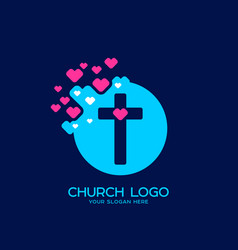 The cross of jesus and the heart vector