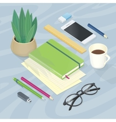 Top view of workplace with office supplies vector