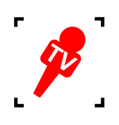 Tv microphone sign red icon vector