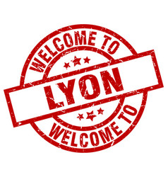 Welcome to lyon red stamp vector
