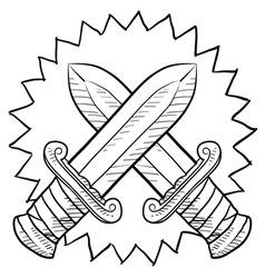 doodle conflict swords vector image
