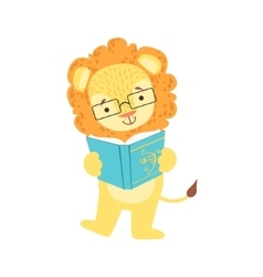 Lion Smiling Bookworm Zoo Character Wearing vector image