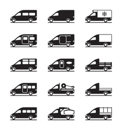 Various types of vans and pickups vector image