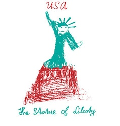 American statue of liberty usa kid style vector