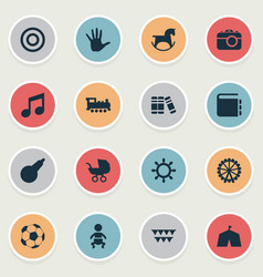 set of simple child icons vector image