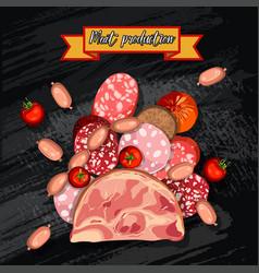 Set of sausage bacon salami smoked boiled vector