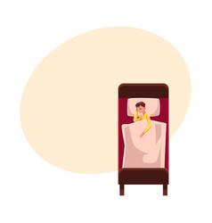 Man sleeping in bed on side under blanket wearing vector