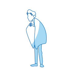 Young man with fever wrapped in blanket vector