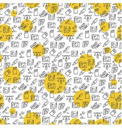 Office icons seamless pattern with yellow rounds vector