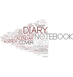 Diary word cloud concept vector