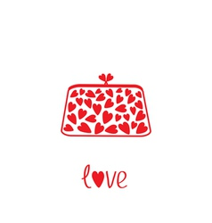 Love clutch with hearts love card vector