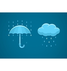Rainy weather flat icons with vector
