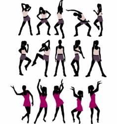 Sport silhouettes of women vector