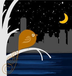 Bird with night city vector