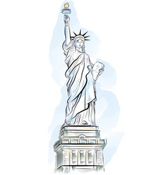Drawing color statue of liberty in new york usa vector