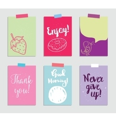 Set of creative 6 journaling cards vector