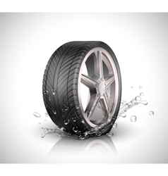 Car wheel with splashing water in motion blur on vector