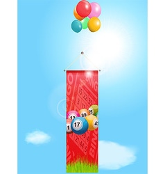 Bingo flying banner and balloons vector