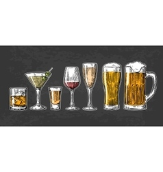 Set glass beer whiskey wine tequila cognac vector image