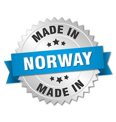 Made in norway silver badge with blue ribbon vector