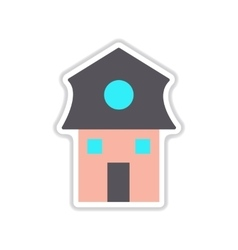 Paper sticker on white background dutch house vector