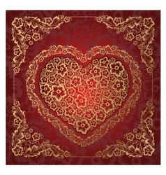 Red heart ornament vector