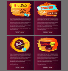 big autumn sale new offer discounts posters vector image