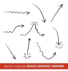 Black graphic arrows set vector image