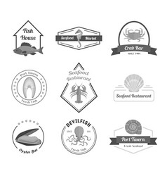 Cartoon silhouette black seafood badges or labels vector