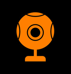 Chat web camera sign orange icon on black vector