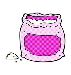 comic cartoon pink bag of flour vector image vector image