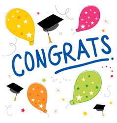 Congrats text balloon color graduate design vector