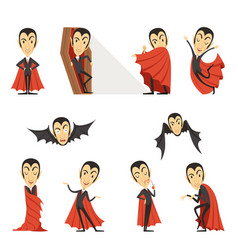 Count dracula wearing red cape set of cute vector