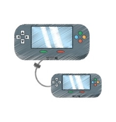 Drawing two video gamepad portable technology vector