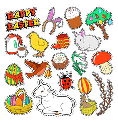 Easter decorative elements with rabbit eggs vector