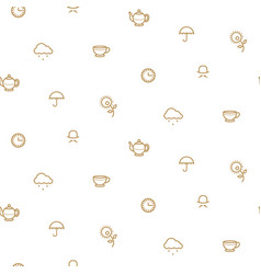 english tea party simple gold on white line vector image