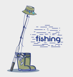 Fishing rod with hook and nylon to catch seafood vector