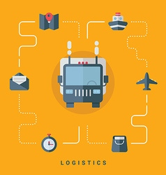 Flat conceptual logistics truck with delivery vector